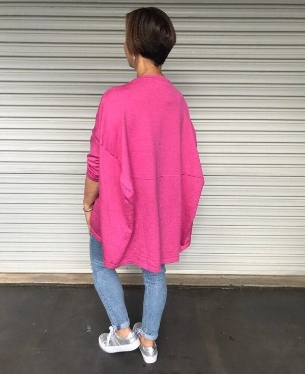 Back view hot pink sweater