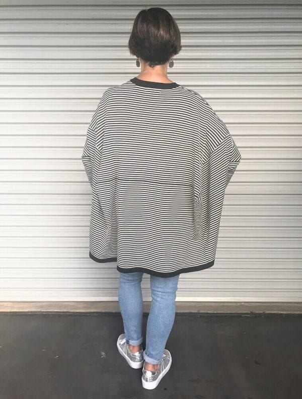 Back view oversized striped jumper