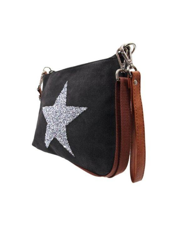 Black star clutch bag