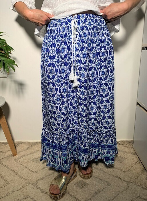 Blue floral maxi skirt front