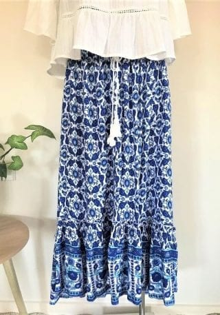 Front navy floral maxi skirt