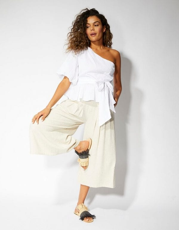 Front white one shoulder top