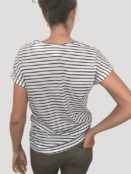 Ladies black and white striped t shirt back