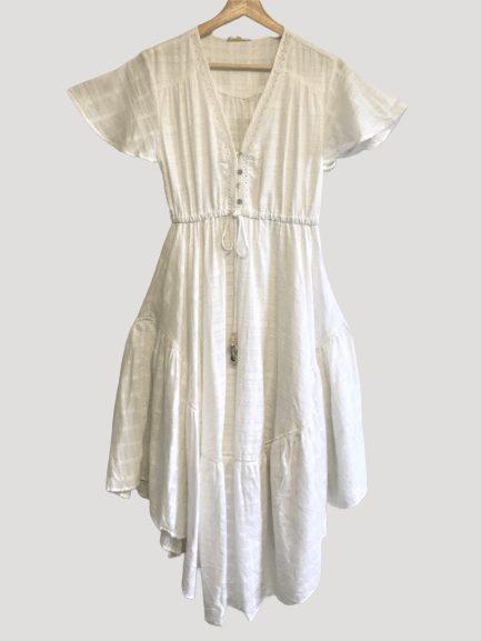 White boho maxi dress front view
